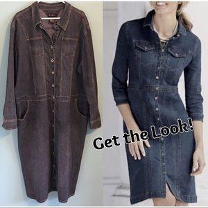Ashley Stewart Denim Shirt Dress 22 Blue Jean Plus